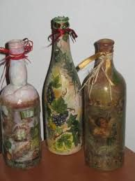 Image result for butelka decoupage