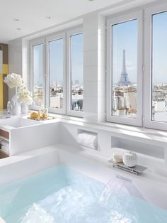View from a bathroom in a suite at the Mandarin Oriental, Paris Interior Design home decoration on a budget modern architecture interior des. Dream Bathrooms, Beautiful Bathrooms, Hotel Bathrooms, Luxury Bathrooms, Luxury Hotel Bathroom, Hotel Bathroom Design, Luxury Bathtub, Bathroom Designs, Home Design