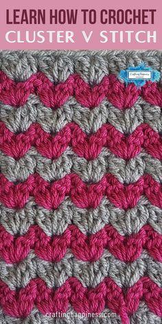 V Stitch Crochet, Crochet Stitches For Blankets, Crochet Stitches Free, Beginner Crochet Blankets, Crochet Stitch Tutorial, Crochet Blanket Tutorial, Beginner Crochet Tutorial, Crochet For Beginners Blanket, Crochet Basics