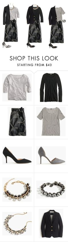 """""""Collection A-line Midi Skirt"""" by jsodders ❤ liked on Polyvore featuring J.Crew, women's clothing, women, female, woman, misses and juniors"""
