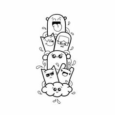 Ideas For Doodle Art Monster Drawings Cute Doodle Art, Doodle Art Designs, Cool Doodles, Doodle Art Drawing, Kawaii Doodles, Cool Art Drawings, Kawaii Drawings, Art Drawings Sketches, Simple Doodle Art