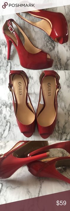 Guess Candy Apple Red Platform Ankle Strap Heels 7 Guess Candy Apple Red Stiletto Ankle Strap Heels 7  - Size - 7  -Platform Pump  These gorgeous Red Guess high heels have never been worn. They have an adjustable buckle strap.  *Original Box Not Included  ✨Measurements✔️IN PICTURE✨✨ ❓❓Confused? Want more information? ❓❓ LEAVE A COMMENT, I'll answer as soon as I can!  ✨NO TRADES/MODELING✨ ❤️❤️LOVE THE ITEM? But not the price.. MAKE ME AN OFFER!! Guess Shoes Platforms