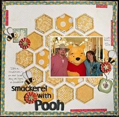 █ Author → http://pinterest.com/PinterestFella/ █  Love the honeycomb detail on this Pooh scrapbook page! From → http://creativelysavvy.blogspot.com