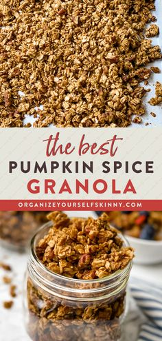 This Pumpkin Granola is everything Fall dreams are made of. Each bite is filled with crunchy pecans, maple, and all the flavors of pumpkin spice. It's delicious and addicting! Enjoy this perfect healthy breakfast or snack recipe sprinkled on top of yogurt, in a bowl with milk, or with a side of fruit. Organize Yourself Skinny Healthy Meal Prep Recipes | Healthy Snack Recipes | Healthy Weight-Loss Recipes Healthy Breakfast On The Go, Healthy Breakfast Smoothies, Quick Snacks, Healthy Meals For Kids, Healthy Snacks For Kids, Pumpkin Granola, Pumpkin Spice, Fun Recipes, Sweet Recipes