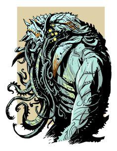 Chtulhu sketch 01 by Juan Calle, Onikaizer on deviantART Lovecraft Cthulhu, Hp Lovecraft, Random Image Generator, Call Of Cthulhu Rpg, Lovecraftian Horror, Weird Stories, Sea Monsters, Creature Design, Dark Art