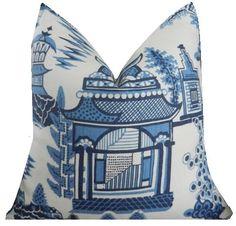 Schumacher Nanjing  Pillow Chinoiserie Pillow Cover Porcelain Blue Pillow Cover Toile Pillow Cover ONE PILLOW COVER
