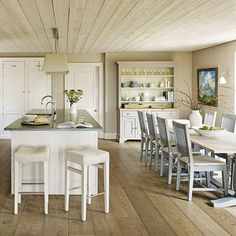 A palette of neutral, soothing colours  and textures gives this country kitchen a modern lift   Designed by Garry Meakins, head of design, Sims Hilditch   Photograph by Darren Chung   Homes & Gardens   http://www.hglivingbeautifully.com/2016/05/19/natural-fit-a-beautiful-19th-century-farmhouse-kitchen/