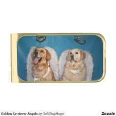 Golden Retriever Angels Gold Finish Money Clip
