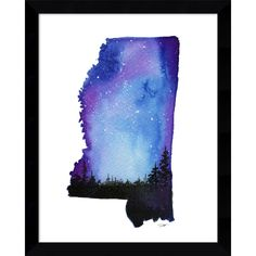 Decorate with your favorite state. This beautiful fine art print of Mississippi features the stunning watercolor work of artist Jessica Durrant. Features: Framed art is made using solid wood molding F