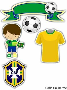 Brasil Soccer Theme Parties, Soccer Party, Party Themes, Royal Icing Cakes, Album Scrapbook, Soccer Birthday, Sports Day, Aesthetic Stickers, Ideas Para Fiestas