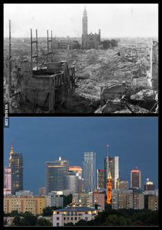 Warsaw 1945 vs 2013 Can you spot the church that survived? Poland Ww2, Warsaw Poland, Warsaw Uprising, Poland History, Poland Travel, Before And After Pictures, Historical Pictures, Krakow, Ukraine