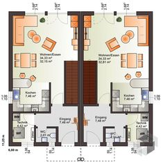 Semi-detached house duo 160 with a flat roof of the bear house Apartment Floor Plans, House Floor Plans, Semi Detached, Detached House, Garage To Living Space, House Construction Plan, Narrow House, Display Homes, Flat Roof