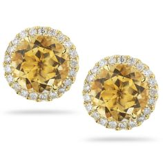 ANNA BETH: In a gorgeous citrine, this 14k yellow gold earring features approximately 0.41 carats of diamonds.