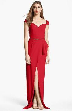 Black Halo Eve Laurel Berman Prestige Draped Peplum Gown | Nordstrom