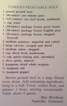 Tomato-Vegetable Soup Southern Living 1986