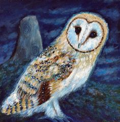 "Barn Owl Art, Print  8 x 8""  - Celtic stone, pagan, animal art by Faerysayles on Etsy https://www.etsy.com/listing/386464632/barn-owl-art-print-8-x-8-celtic-stone"