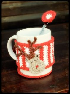 Christmas mug warmer set reindeer cup cozy red and by AMIknit, $25.00