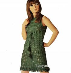 "Instant CROCHET Pattern - Lady's Dress 3 Sizes 32"" 34"" 36"" DK Yarn - 1970's Retro Mini Dress - Vintage Lee Target Pdf Download - Kenyon 0931"