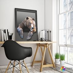 Color Bear Print, Nursery Wall Art, Bear Print, Animal Photo, Woodlands, Printable Poster, Kids Room Decor, Instant Digital Download