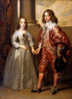 William II, Prince of Orange and Princess Henrietta Mary Stuart, daughter of Charles I of England, 1641 by Anthony van Dyck. Baroque. portrait