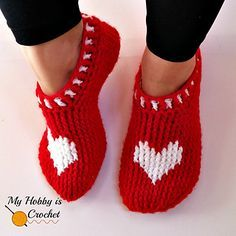 """The Heart & Sole Slippers is my second Valentine's Day inspired pattern using a heart graph. The first one was """"A Hat with Love"""", a cute hat with hearts going around."""