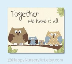 Baby boy nursery nursery decor owls family by HappyNurseryArt