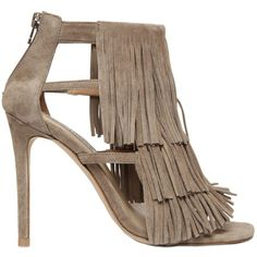 Steve Madden Women 100mm Fringed Suede Sandals ($95) ❤ liked on Polyvore featuring shoes, sandals, heels, taupe, high heel shoes, fringe heel sandals, strappy heeled sandals, strap heel sandals and steve madden sandals