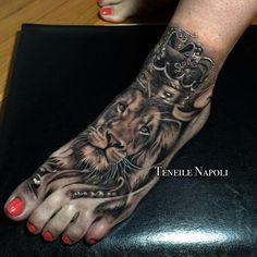 Awesome lion tattoos on foot for girls
