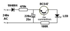 FLASHING LED on 240v by Franz Bachler This circuit flashes a single LED on 240v. The circuit will also work on 120v by reducing the 470k to 220k. The base of the transistor is not connected.