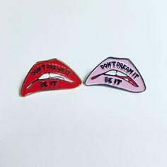 Don't Dream It Be It! Rocky Horror Picture Show fan lapel enamel pin Science Fiction Double Feature