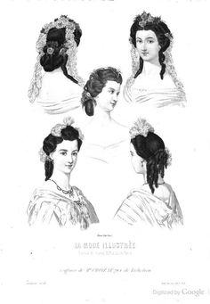 1863, La Mode Illustree. Coiffures.