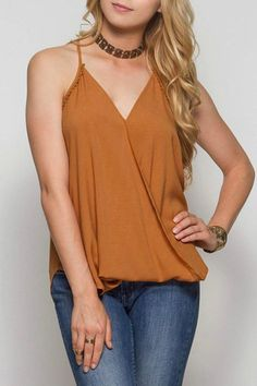 Mission Beach Surplice cami with detail trim. Perfect with a pair of jeans and strappy sandals to go spend the day at the beach. Wear it in the summer all the way into Fall   Mission Beach Tank by She & Sky. Clothing - Tops - Tees & Tanks California