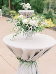 A Touch of greens and white floral for Cocktail Hour Rehearsal Dinner Centerpieces, Wedding Vase Centerpieces, Modern Wedding Flowers, Wedding Flower Inspiration, British Wedding, Greek Wedding, Wedding Decorations On A Budget, Table Decorations, Sage Green Wedding