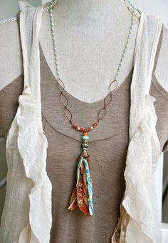 Gypsy tassel girl. long beaded tassel necklace. by tiedupmemories
