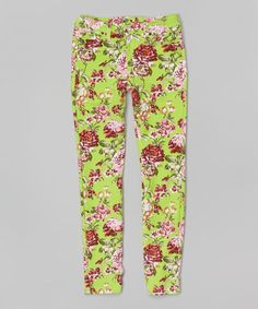 Look at this Green Floral Skinny Jeans - Girls on #zulily today!