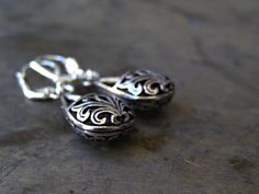 Silver Plated Filigree Drop Earrings by MoreThanPrettyThings, $27.00