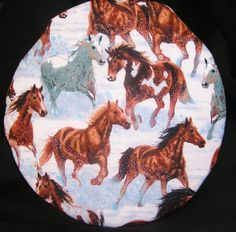100 cotton Microwave potato baker bag Round Horses by Inthecc, $9.00