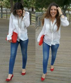 Zapatos rojos red shoes outfit, white jeans outfit, rothys shoes, jeans outfit for Mode Outfits, Fashion Outfits, Womens Fashion, Fashionable Outfits, Red Flats Outfit, Red Shoes, Rothys Shoes, Looks Casual Chic, Looks Jeans