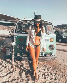 For the Love of All Things German and Air Cooled Volkswagen Minibus, Vw T1, Volkswagen Transporter, Hot Vw, Bus Girl, Vans Girls, Surf Girls, Beach Girls, Combi Vw