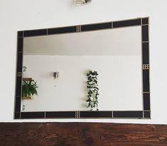 Stylish Black Frame with Gold Lead. Mirror Brackets, Art Nouveau, Art Deco, Charles Rennie Mackintosh, Black Mirror, Oversized Mirror, Glass, Modern, Handmade