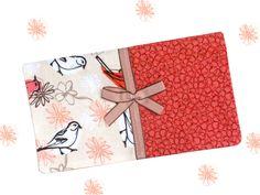 FIFI Porte chéquier oiseaux gris fond écru fleurs roses : Porte-monnaie, portefeuilles par catsoo