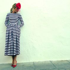 The perfect wedding guest, dress by: Fernando Claro (Sevilla); blue stripes dress with red always is beautiful ❤