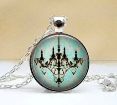 Black Chandelier Necklace Glass Art Pendant Picture by Lizabettas, $14.00
