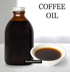 DIY homemade coffee oil To Make Coffee Infused Oil (Hot infusion method)    Combine 4 Tablespoons of ground coffee beans with 8 Tablespoons of pure olive oil or coconut oil in a pan.    Heat it on over low heat for about 30mins or few hours, stirring occasionally.    You can also use a small crock pot and heat it on low for few hours, stirring occasionally    Strain the oil using either cheesecloth or a coffee filter.