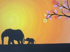 Elephant Mom and Baby Painting. Acrylic Paint on Canvas with buttons and paper.