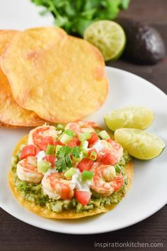Shrimp Avocado Tostadas Inspiration Kitchen is part of Mexican food recipes - These Shrimp Avocado Tostadas are light, refreshing and simple to make They come together easily for a great healthy weeknight meal! Avocado Recipes, Fish Recipes, Seafood Recipes, Mexican Food Recipes, Cooking Recipes, Recipies, Dinner Recipes, Ethnic Recipes, Healthy Weeknight Meals