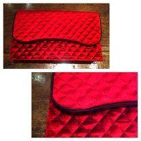 Clutch de veludo pespontado vermelho - vendida