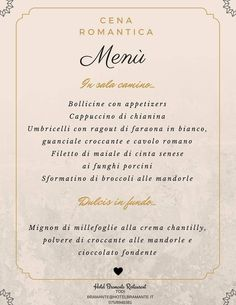 Two romantic dinners, one great menu by our Chef Aldo Mosca.