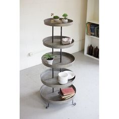 Gracie Oaks This recycled metal display tower is perfect indoors and outdoors to display or store any items that you may need. Etagere Bookcase, Bookcase Shelves, Glass Shelves, Wood Shelves, Display Shelves, Display Cabinets, Bookshelf Design, Corner Shelves, Bookcases