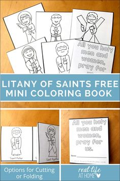 Looking for a fun and easy activity for All Saints' Day? This free mini book printable All Saints' Day coloring page was inspired by the Litany of Saints. It's perfect for kids celebrating All Saints' Day. Catholic Religious Education, Catholic Crafts, Catholic Kids, Catholic Homeschooling, Catholic School, Homeschool Curriculum, Teaching Religion, Religion Catolica, Bible